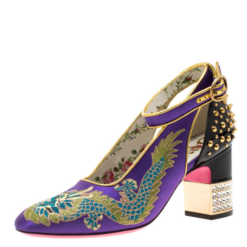 Gucci Purple Satin And Black Patent