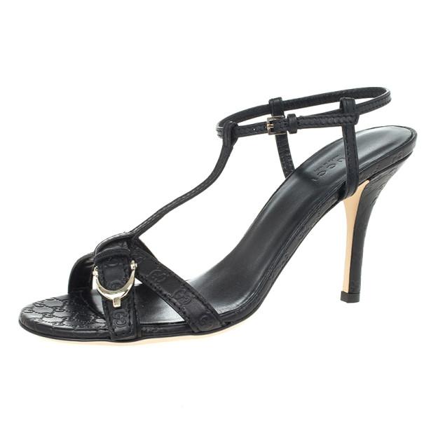 Gucci Black Leather Nice Microguccissima Mid Heel Sandals Size 37.5