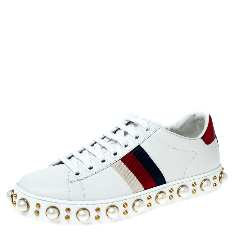 Gucci White Leather Pearl Studded Ace