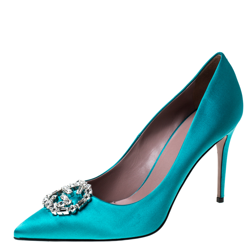 Gucci Blue Satin Embellished Pointed Toe Pumps Size 38
