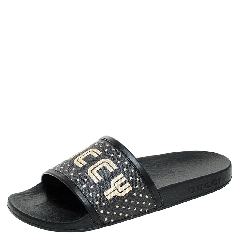 Gucci Black/Gold Coated Canvas Guccy