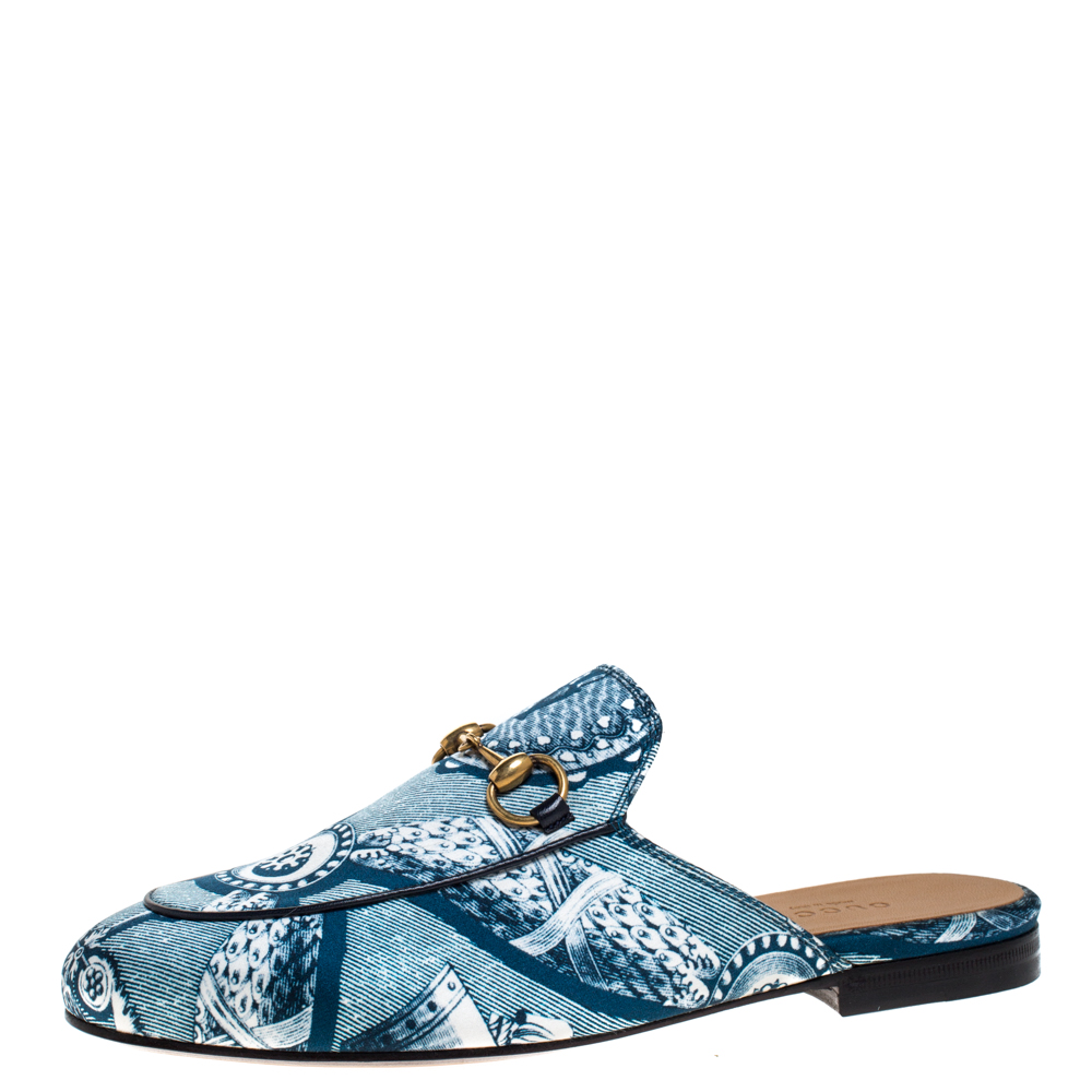 Gucci Blue/White Printed Satin Princetown Horsebit Mules Loafers Size 36
