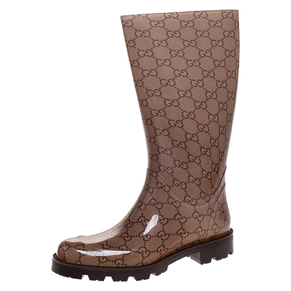 Gucci Brown GG Rubber Edimburg Rain Boots Size 36