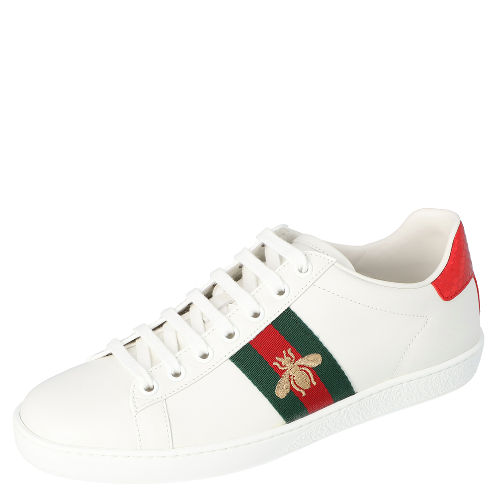 Gucci White Leather Embroidered Bee Ace Low-Top Sneakers Size 38