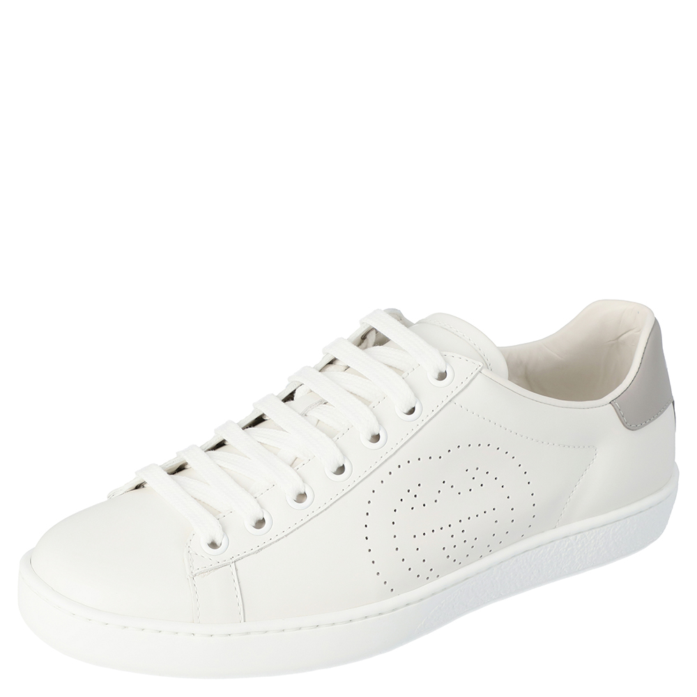 Gucci White Leather Interlocking G Ace Low-Top Sneakers Size 37