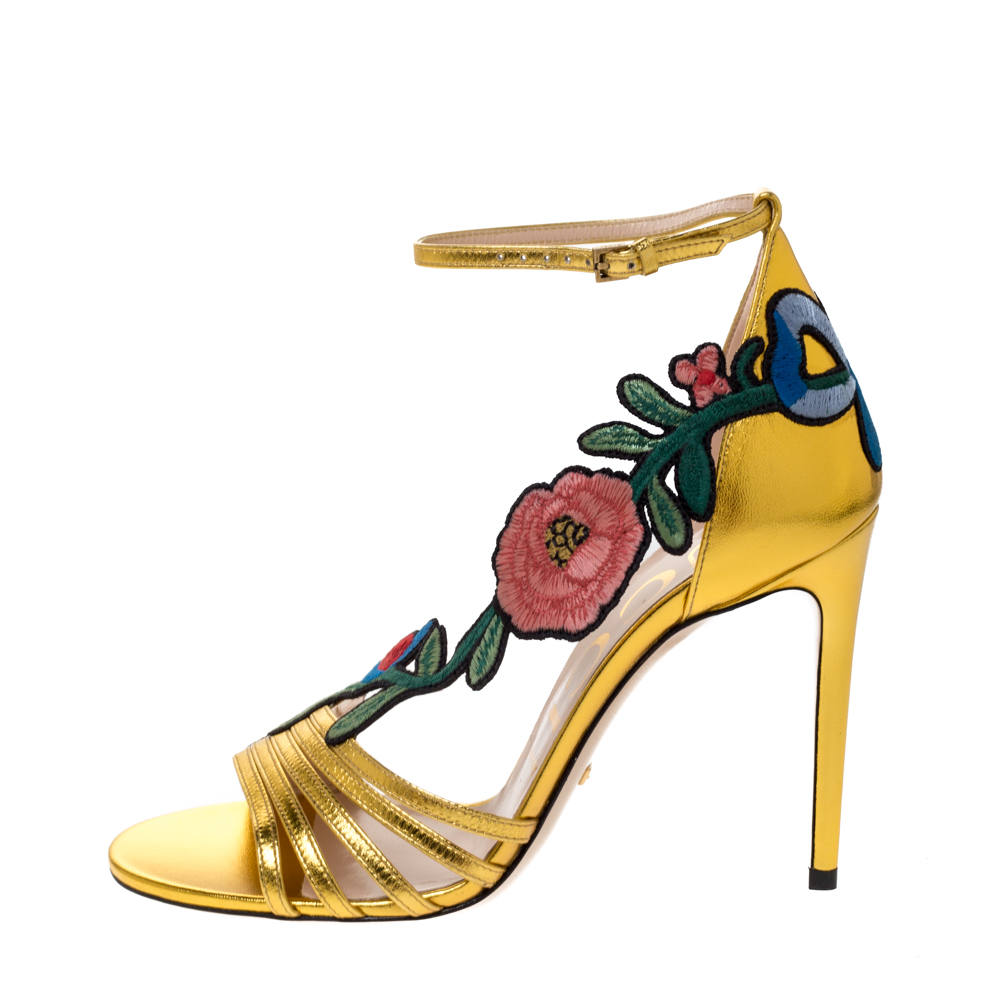 Gucci Gold Leather Ophelia Flower Embroidered Strappy Sandals Size, Metallic