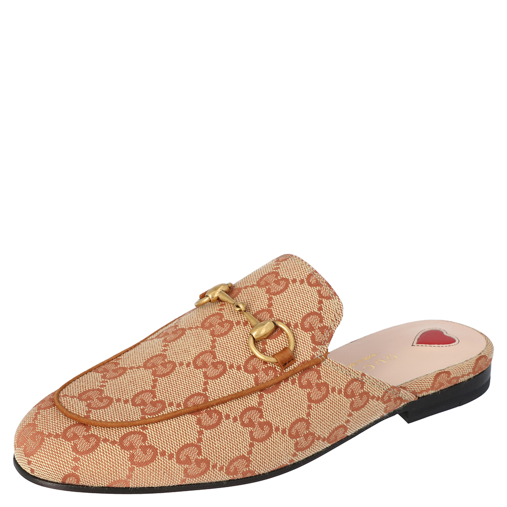 Pre-owned Gucci Beige/brown Gg Canvas Princetown Slipper Size 38 1/2