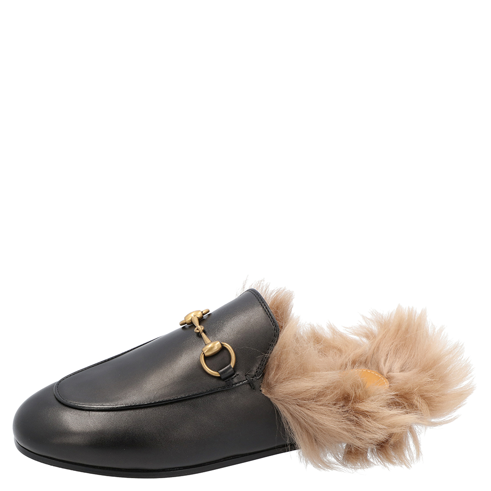 Gucci Black Leather Princetown Slippers Size 38
