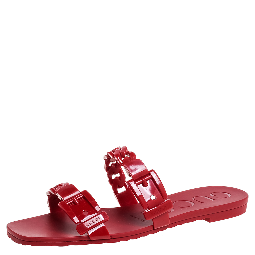 Gucci Red Jelly Buckle Slide Flats Size 39