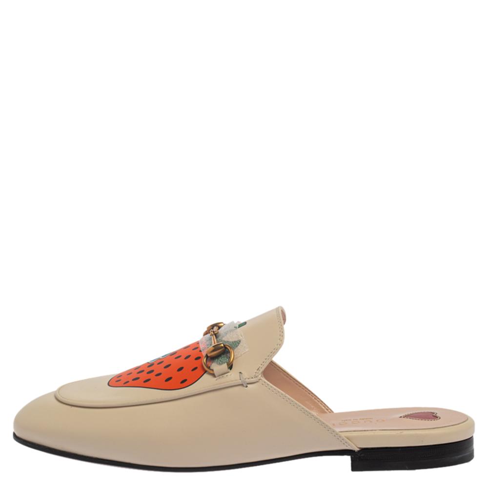 Gucci Ivory Leather Strawberry Princetown Horsebit Flat Mules Size 39