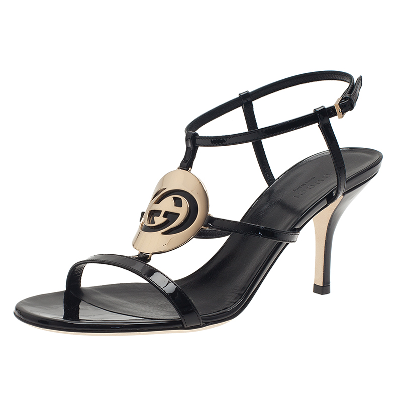e99b779cf208 ... Gucci Black Patent Interlocking G Cage Sandals Size 39. nextprev.  prevnext