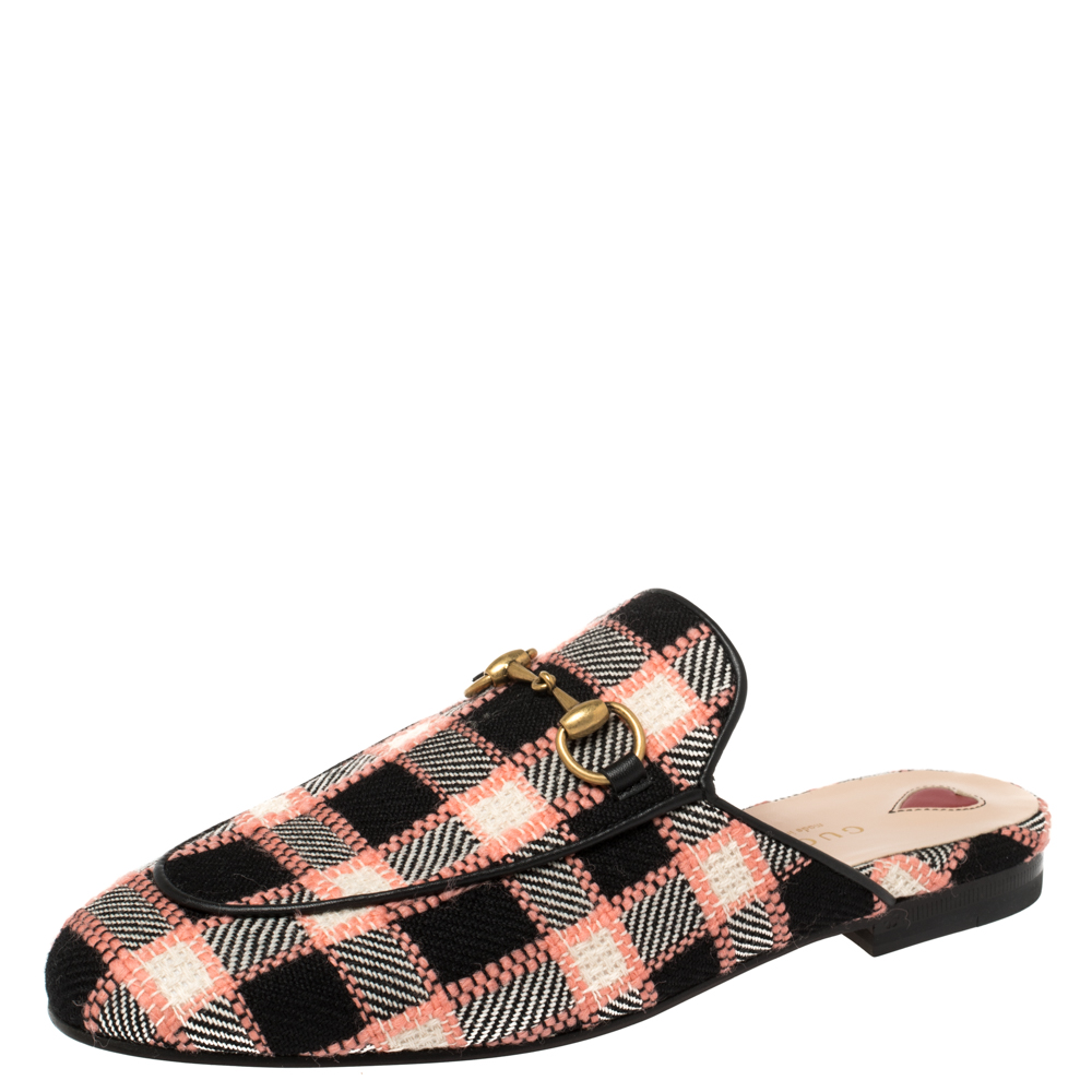 Gucci Multicolor Tweed Princetown Mule Flats Size 36.5