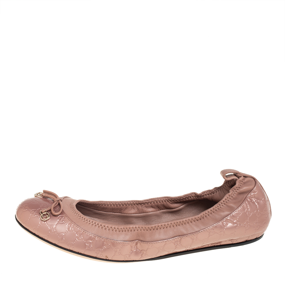 Gucci Metallic Beige Guccissima Leather Bow Scrunch Ballet Flats Size 36.5