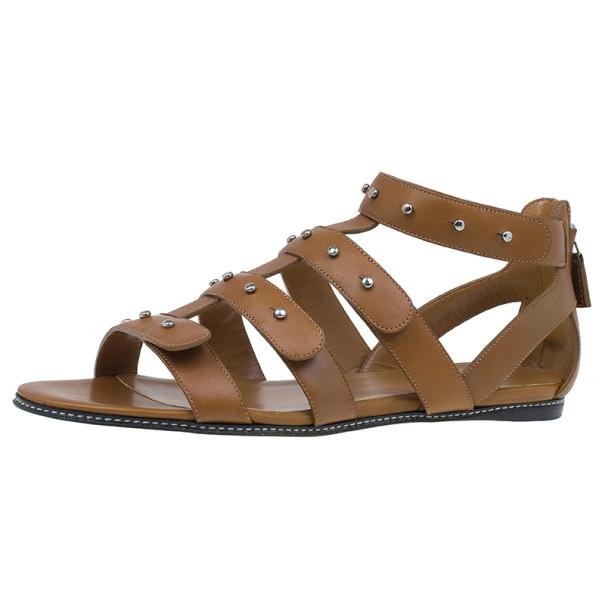 5035c2c40da5 Buy Gucci Brown Leather Studded Sigourney Gladiator Sandals Size 38 ...