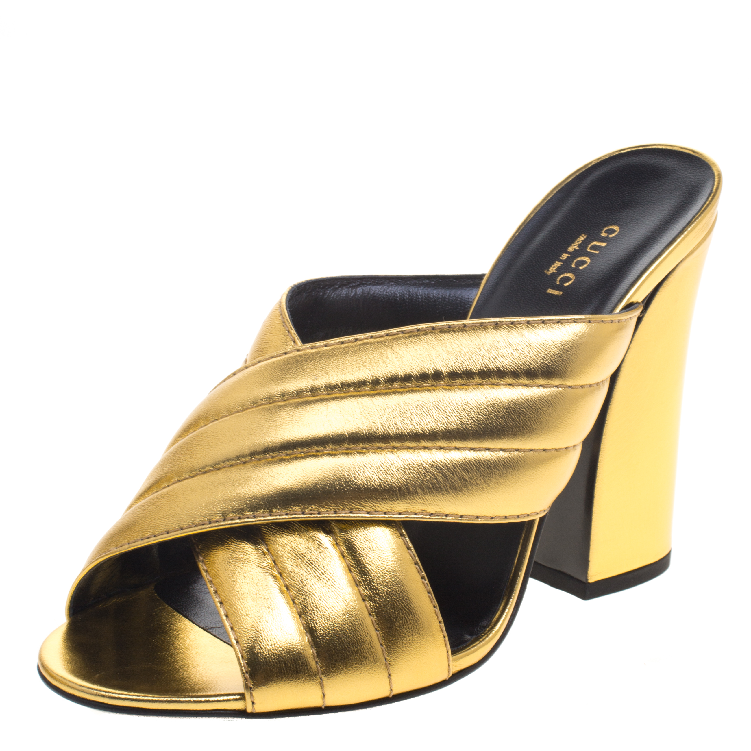 8207d5aa07e0 Buy Gucci Gold Metallic Leather Sylvia Crossover Mules Size 39.5 ...