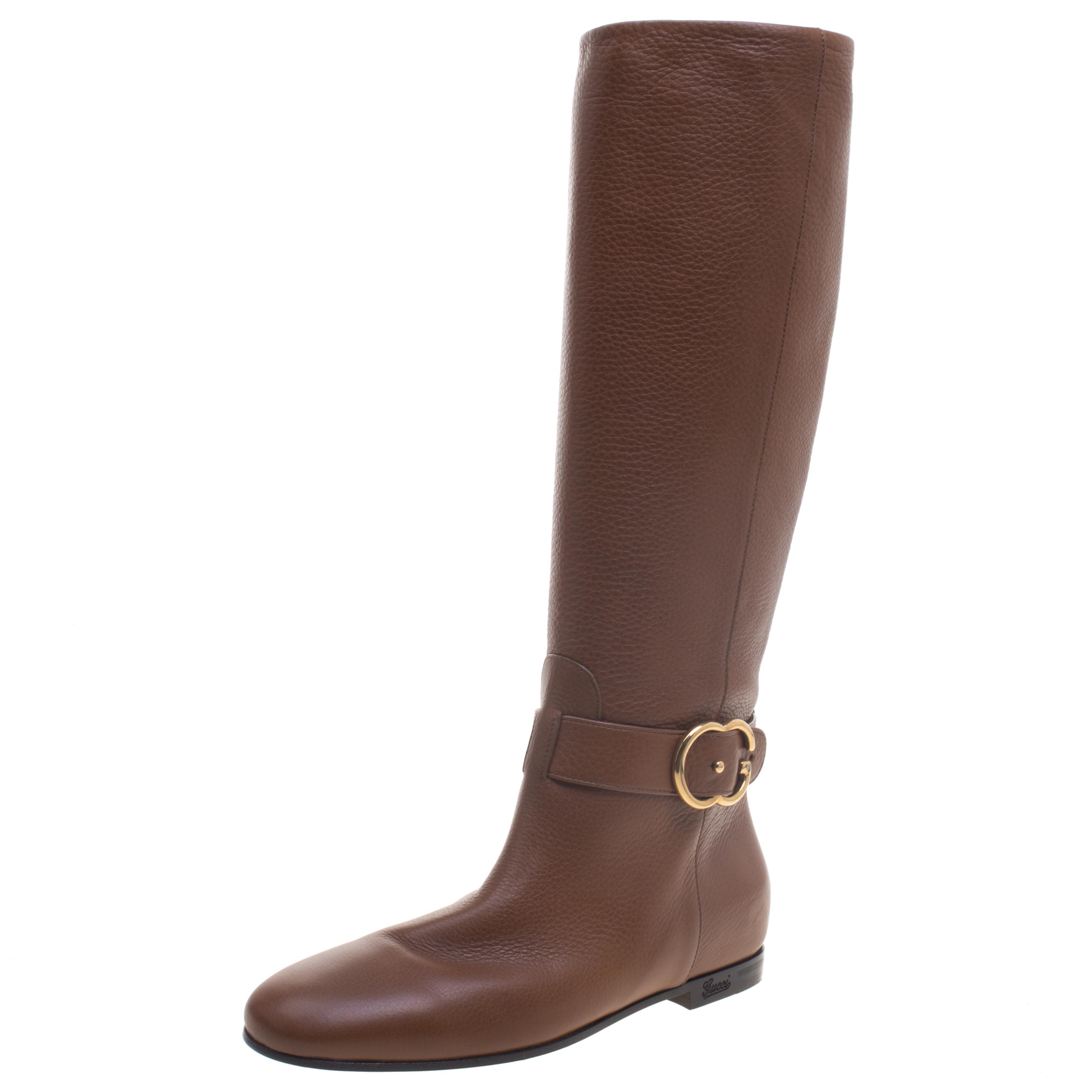 3c65c6e10 ... Gucci Brown Leather Riding Knee Boots Size 38. nextprev. prevnext