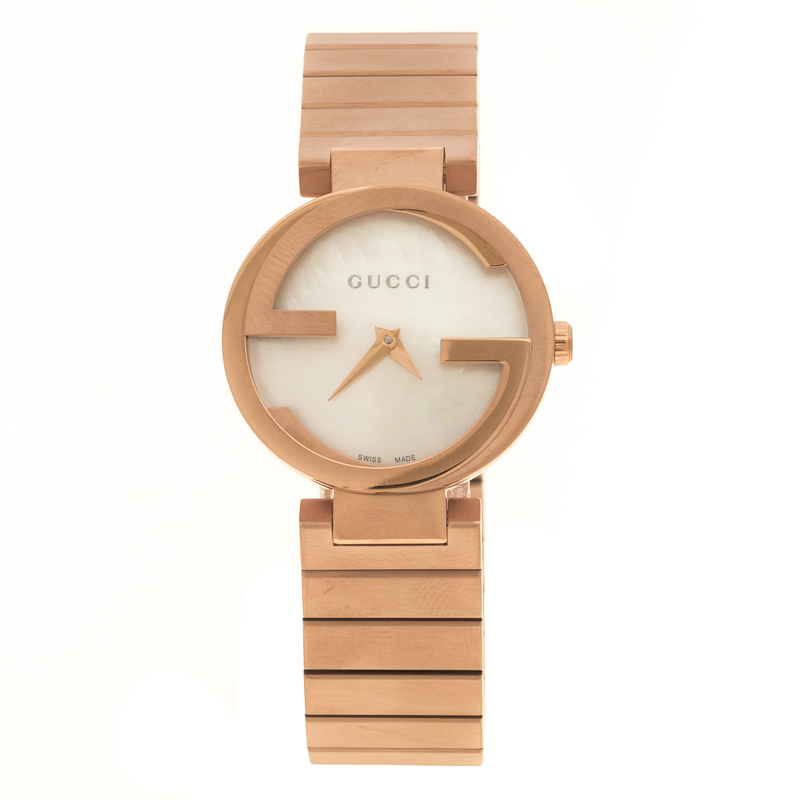 e291fb7696d Buy Gucci Interlocking Mother of Pearl Rose Gold Plated Stainless ...