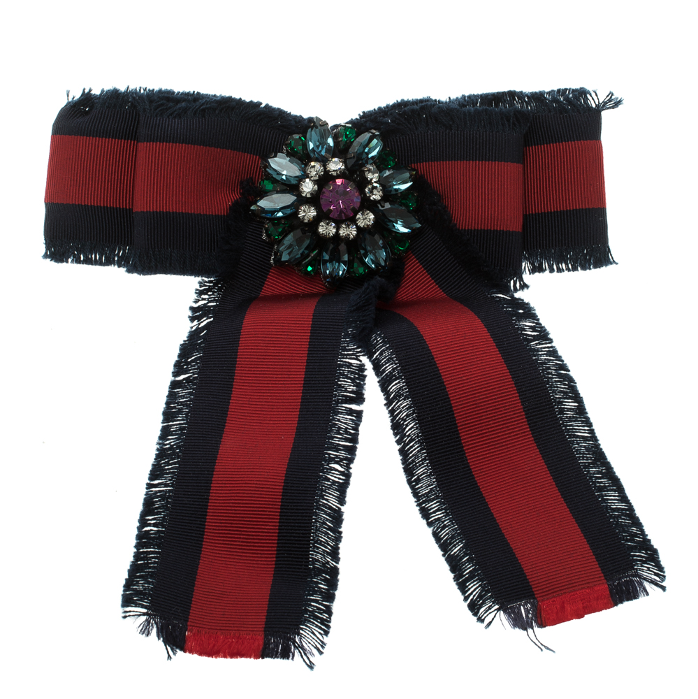 c76cfd78c90 Buy Gucci Crystal Blue   Red Web Grosgrain Frayed Bow Brooch 123356 ...