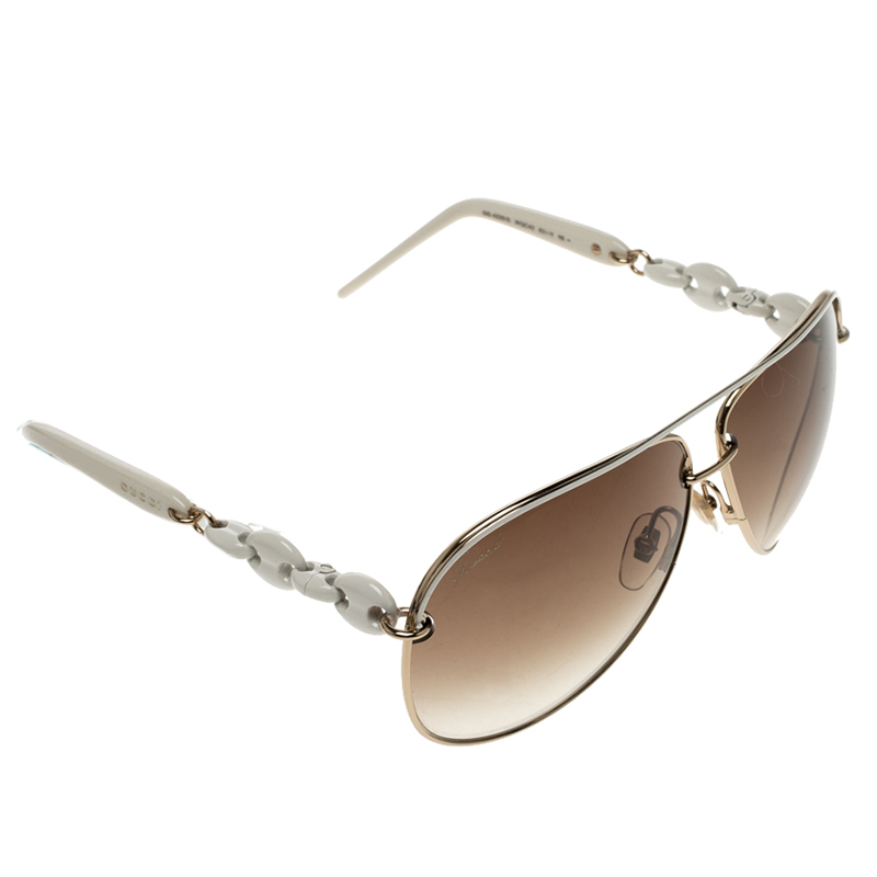 c58da511c4f72 Buy Gucci Brown White GG 4225 S Aviator Sunglasses 130174 at best ...