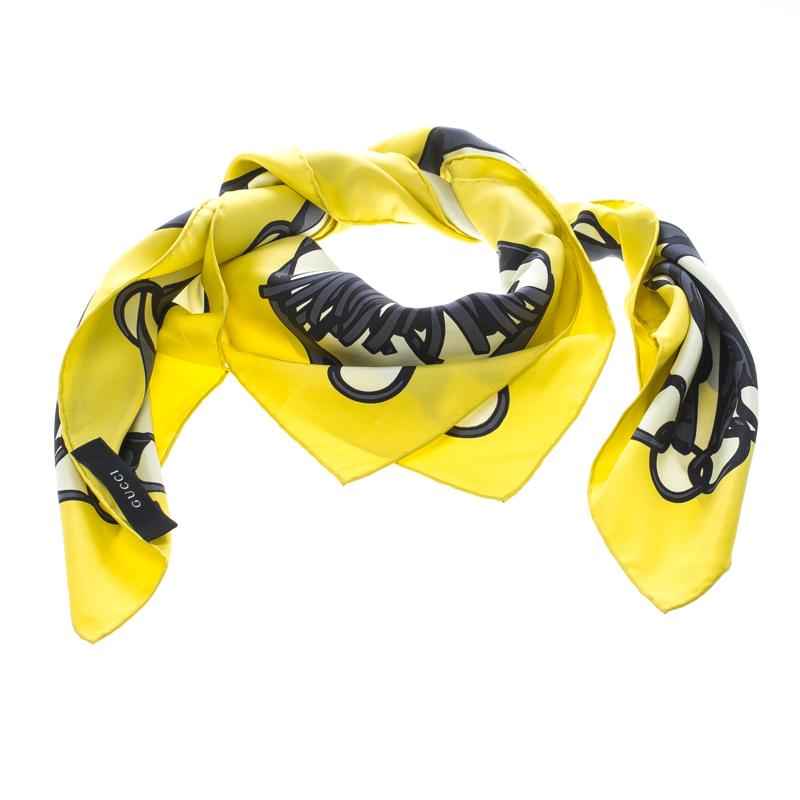 Gucci Lemon Yellow Tassel Bridle Print Silk Square Scarf