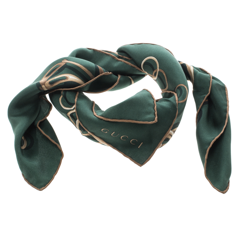 4df3396478731 Buy Gucci Green Horsebit Print Silk Square Scarf 144188 at best ...