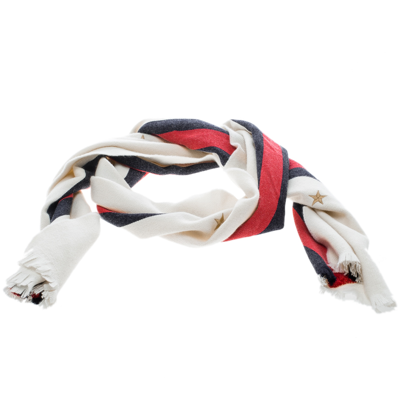 Gucci Off White Wool Blend Web Stripe and Star Embroidered Scarf