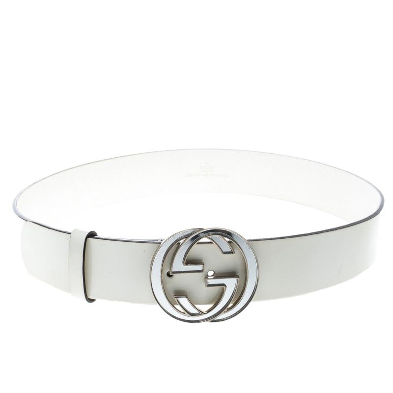 d4af17bee77 ... Gucci White Patent leather Interlocking GG Buckle Belt 90cm. nextprev.  prevnext