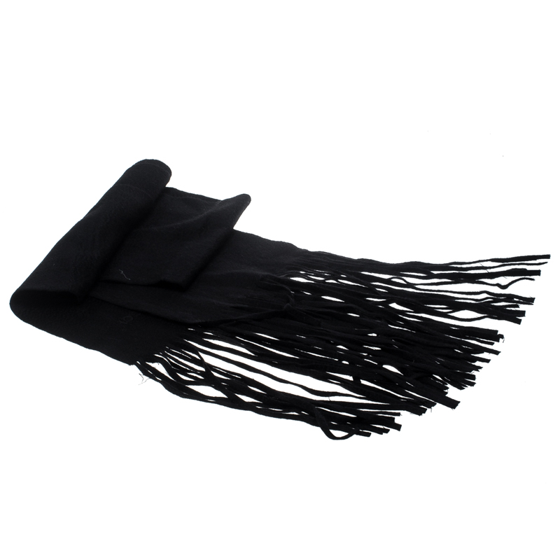 Купить со скидкой Gucci Black Cashmere Tassel Fringe Edge Muffler