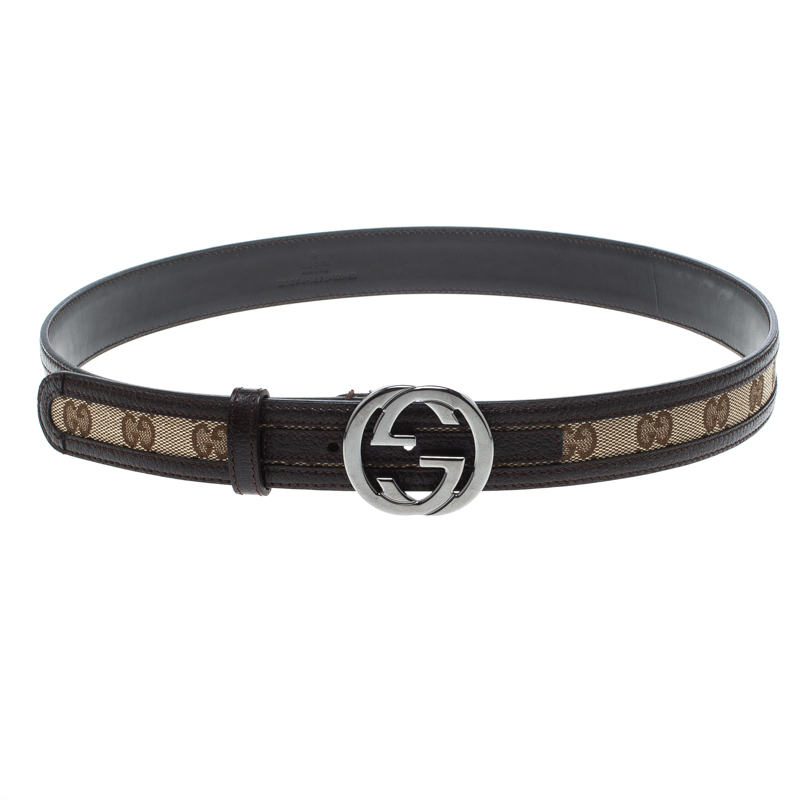 Купить со скидкой Gucci Beige/Brown GG Canvas and Leather Interlocking G Buckle Belt 100 CM