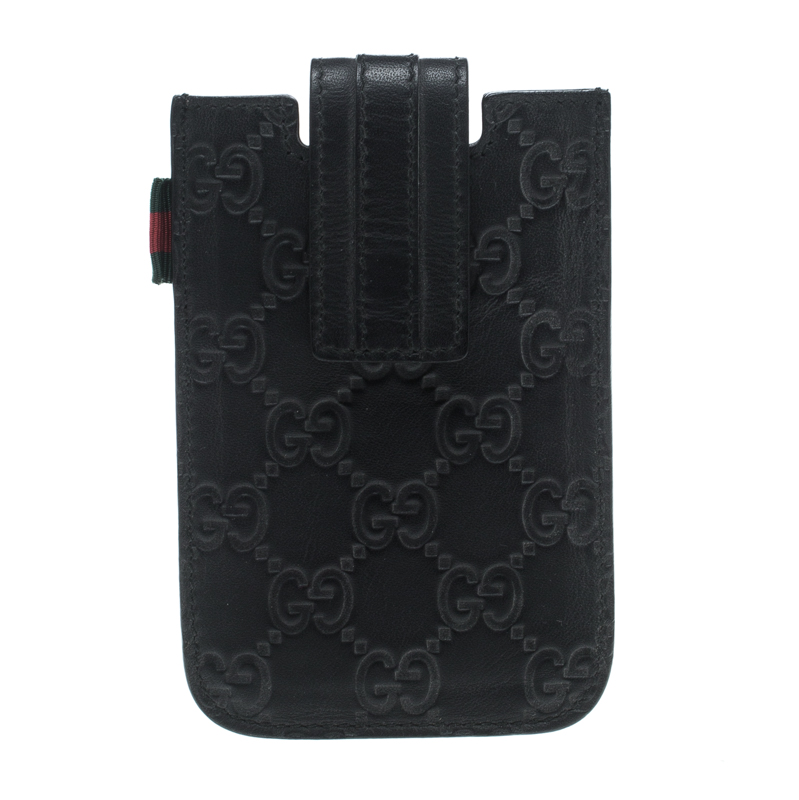 online store 4a4a1 b609b Gucci Black Guccissima Leather iPhone 4/4s Case