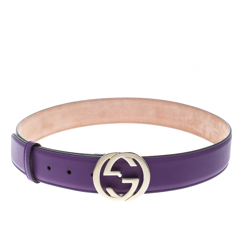 8eac8ace2ee Buy Gucci Purple Leather Interlocking GG Buckle Belt 85cm 158232 at ...