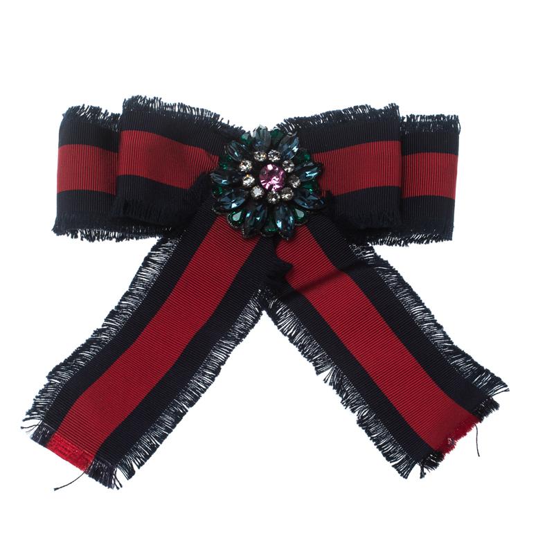 a20c94cb Gucci Crystal Blue & Red Web Grosgrain Frayed Bow Brooch