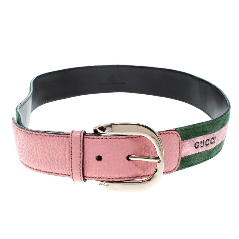 48b61547ac8 ... Gucci Pink Green Fabric and Leather Web Belt 90 CM. nextprev. prevnext