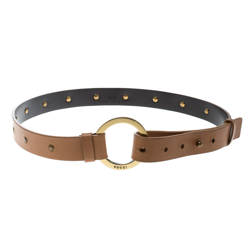 Фото #1: Gucci Beige Leather Studded Belt Size 75 cm