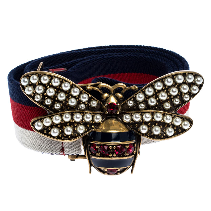 Gucci Multicolor Web Canvas Bee Embellished Buckle Belt