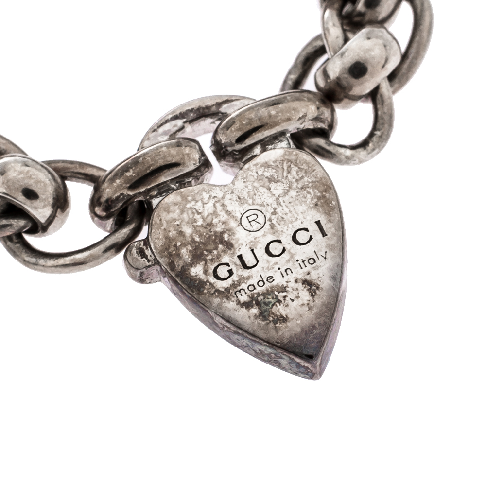 Gucci Sterling Silver Heart Charm Chain Ring Size EU 58
