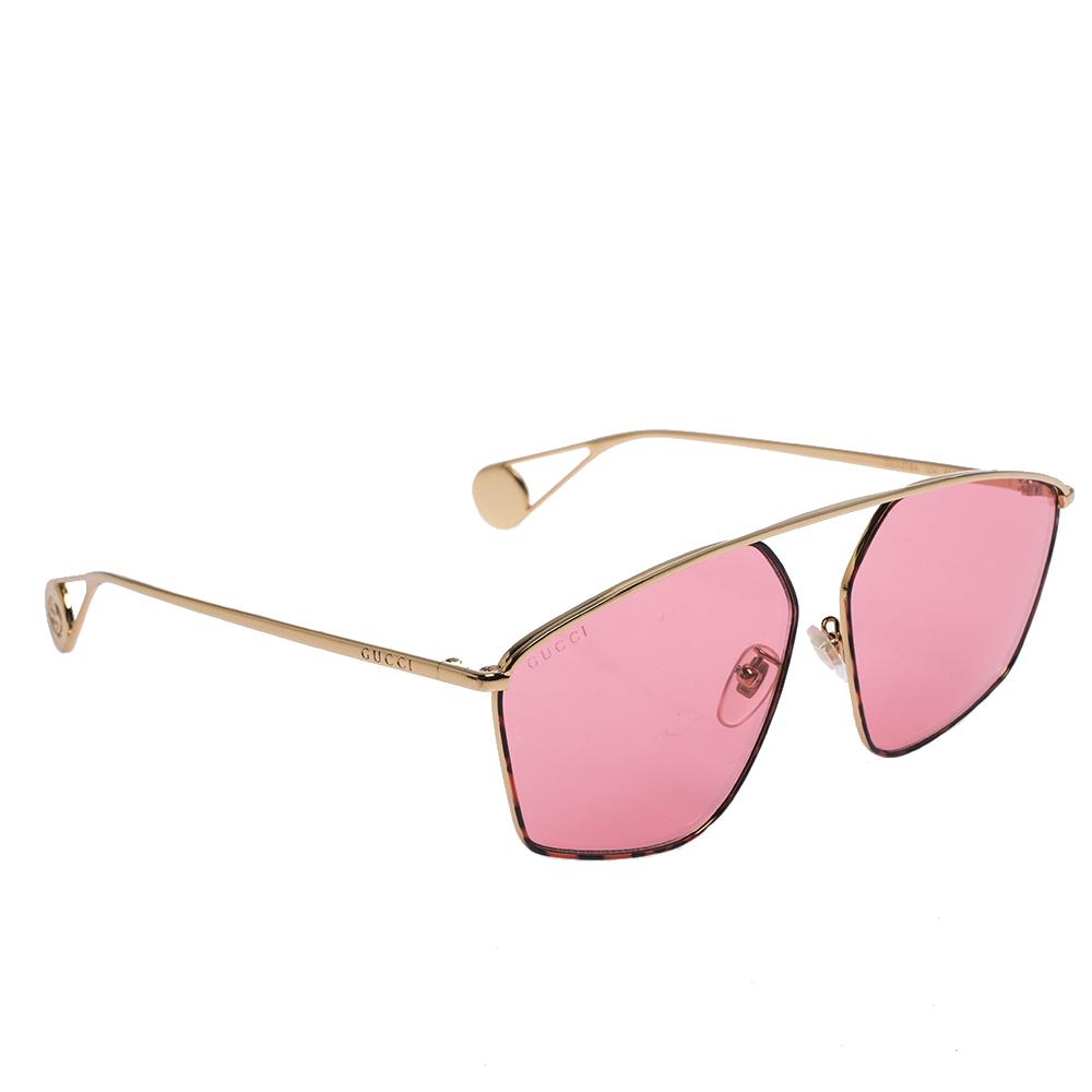 Gucci Gold/Pink GG 0437 Sunglasses
