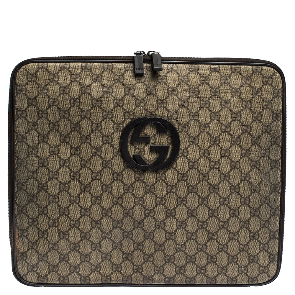 Gucci Beige/Brown GG Supreme Canvas and Leather Interlocking Logo Laptop Case