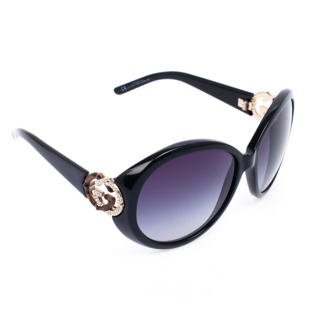 51d3c2a47d ... Gucci Black Oval Interlocking  GG  Temple Women Sunglasses. nextprev.  prevnext