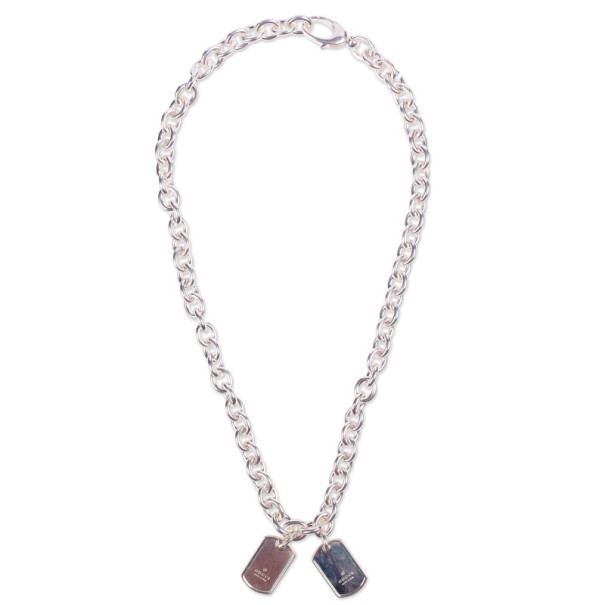 Gucci Silver Two Tags Necklace