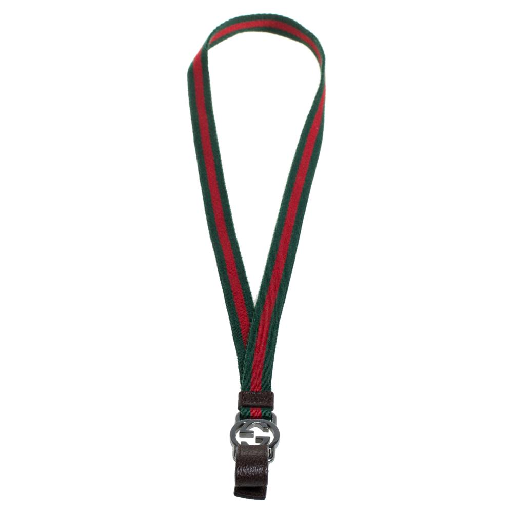 Gucci Green/Red Canvas GG Web Lanyard Key Chain
