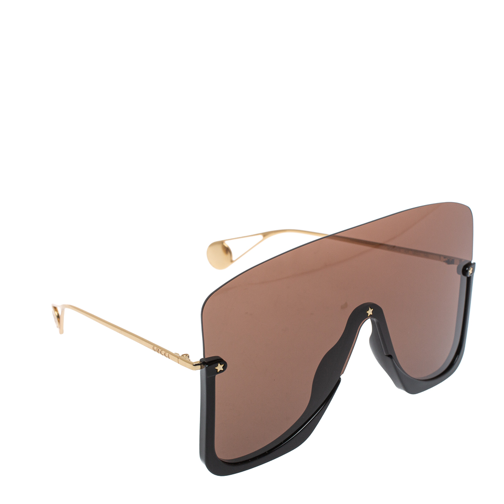 Pre-owned Gucci Black & Gold /brown Gg0540s Oversized Shield Sunglasses
