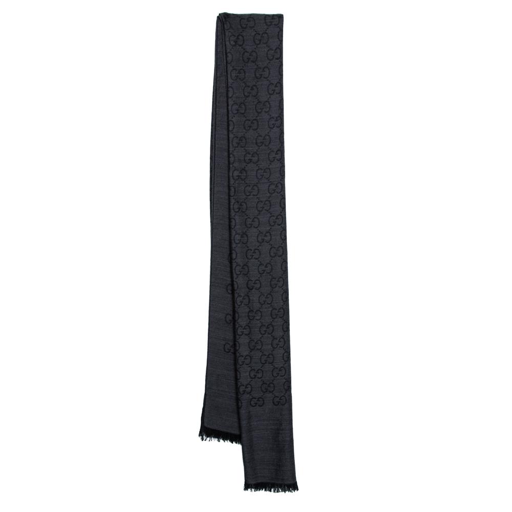 Gucci Grey/Black GG Monogram Silk Wool Stole