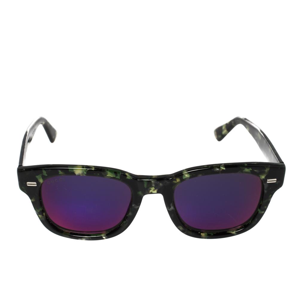 Gucci Green Tortoiseshell / Purple Mirrored GG1079/S Wayfarer Sunglasses