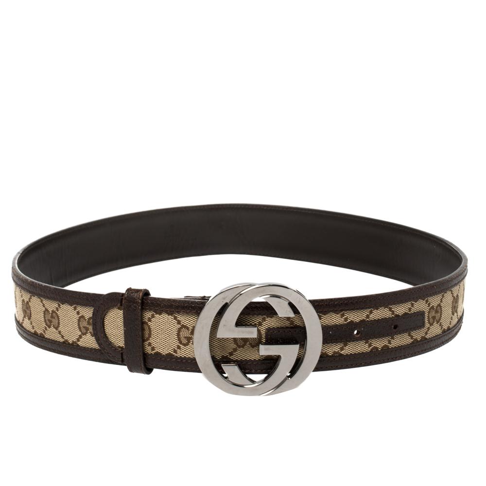 Gucci Brown/Beige GG Canvas and Leather Interlocking G Buckle Belt 85 CM
