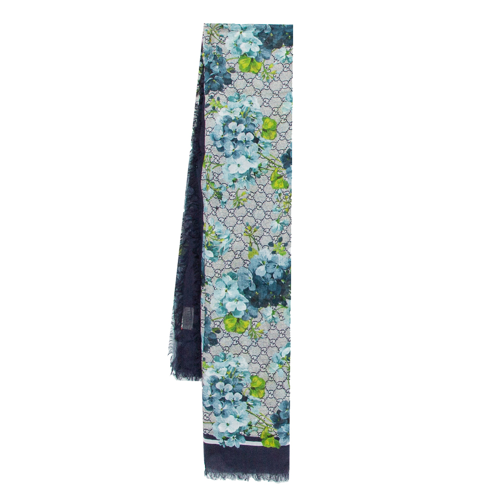 Pre-owned Gucci Navy Blue Logo Monogram Floral Printed Modal & Silk Square Scarf