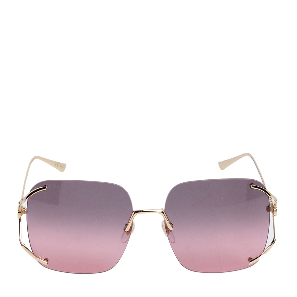 Gucci Gold Tone/Pink GG0646S Oversized Square Sunglasses