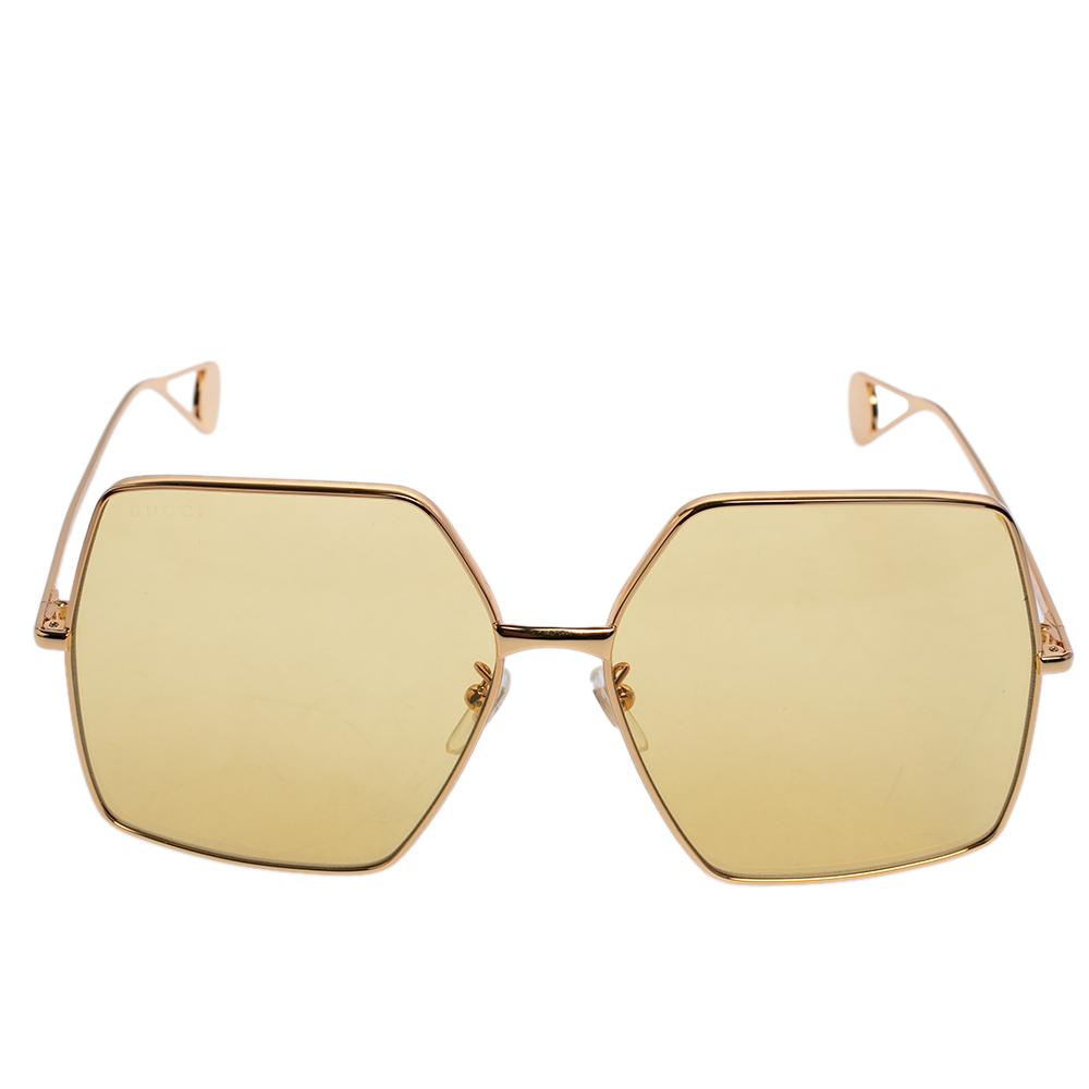 Gucci Gold Tone/Yellow GG0536S Oversized Sunglasses