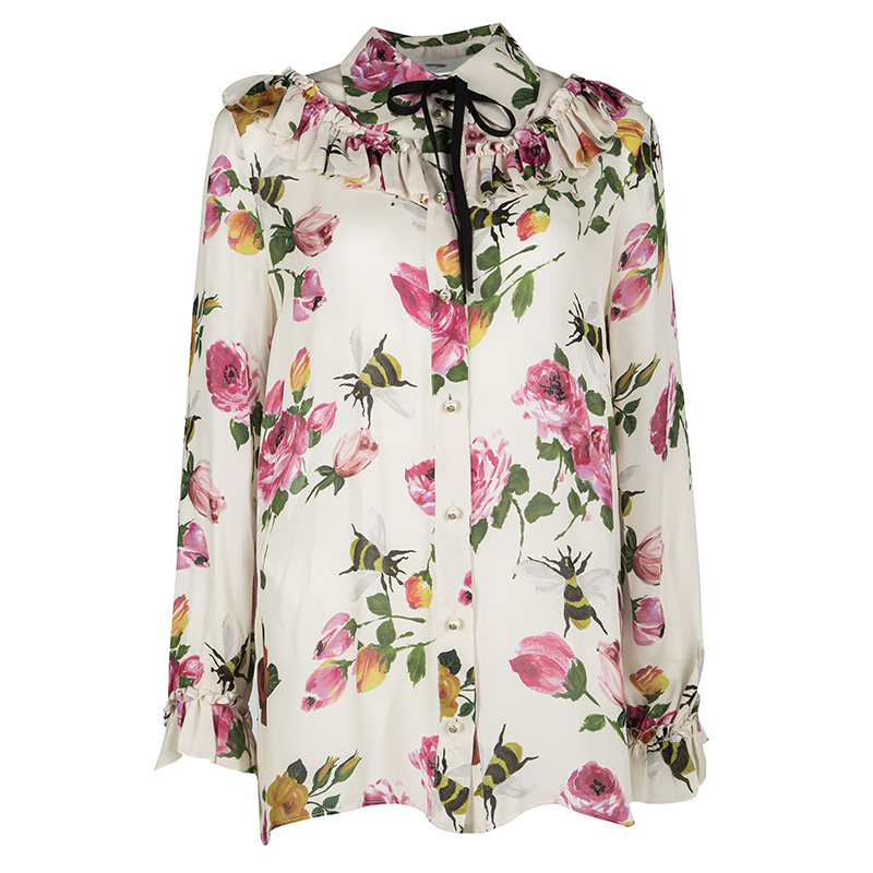 5d792137abc6 ... Gucci Beige Floral Print Silk Ruffle Detail Long Sleeve Blouse L.  nextprev. prevnext
