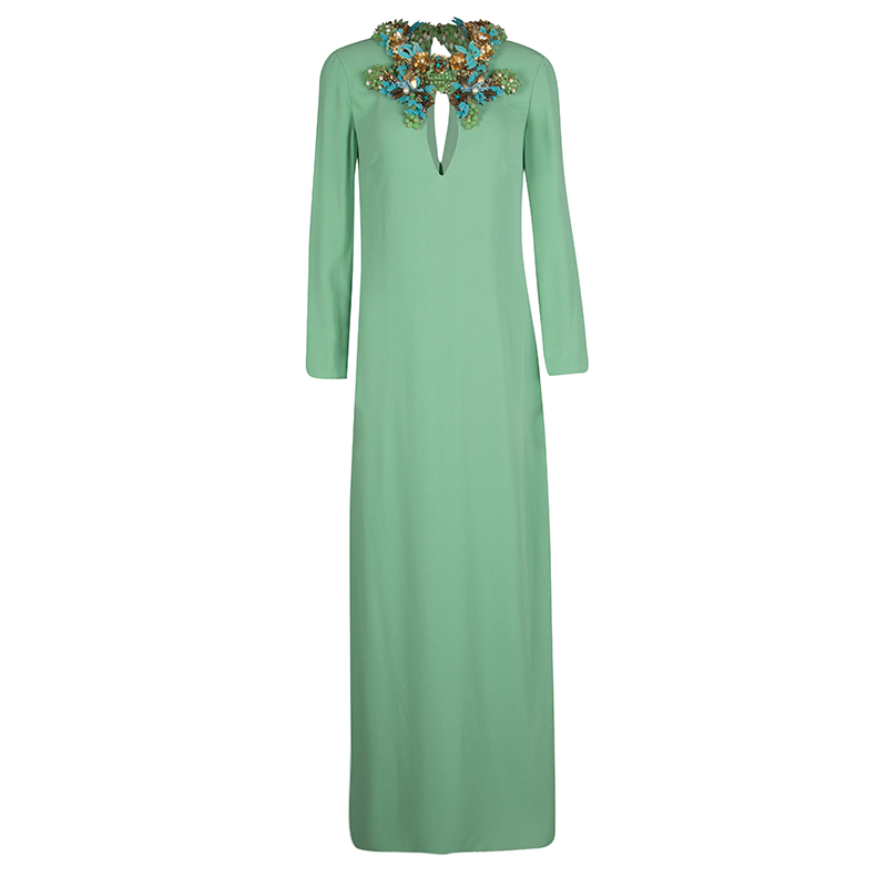 29947189a Buy Gucci Mint Green Neck Embellished Long Sleeve Silk Maxi Dress M ...